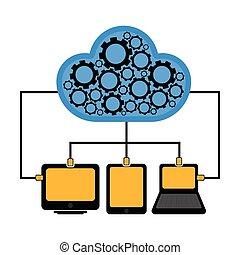 tecnologia, diferente, conectado, nuvem, dispositivos