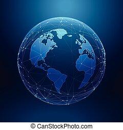 tecnologia digital, terra planeta, dentro, rede, linhas, matriz