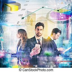 tecnologia, e, affari, marketing