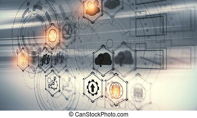 tecnologia, e, analytics, conceito