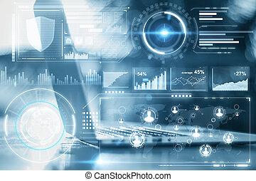 tecnologia, e, futuro, conceito