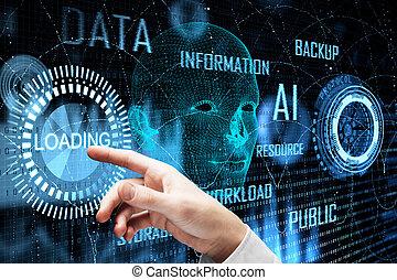 tecnologia, e, futuro, concetto