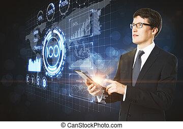 tecnologia, e, mapa, conceito
