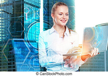 tecnologia, e, rete, concetto