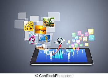 tecnologia, e, sociale, media, icone