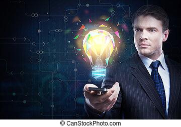 tecnologia, e, solução, conceito