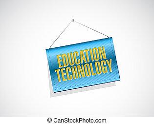tecnologia educazione, bandiera, segno, concetto