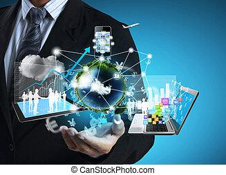 tecnologia, em, a, mãos