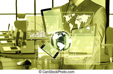 tecnologia, em, a, mãos, de, homens negócios