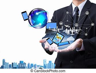 tecnologia, em, negócio, mão