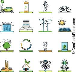 tecnologia, energia, verde, renovável, ícones