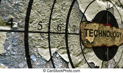 tecnologia, etichetta, su, grunge, bersaglio