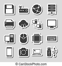 tecnologia, etichette, set, icone