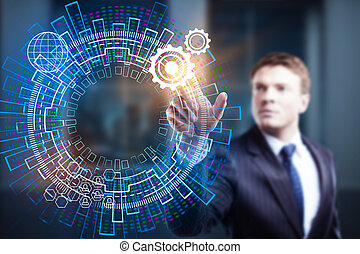 tecnologia, futuro, e, hud, conceito