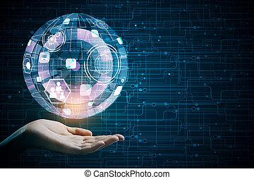 tecnologia, futuro, e, interface