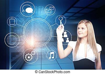 tecnologia, futuro, e, interface, conceito
