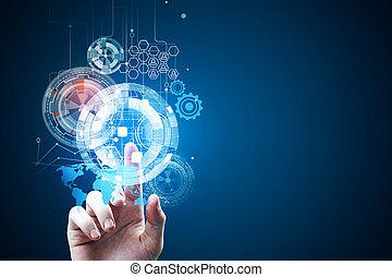 tecnologia, futuro, e, touchscreen