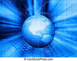 tecnologia, globale, disegno, fondo, 3d