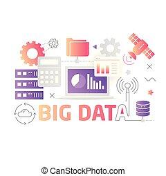 tecnologia illustrazione, grande, dati