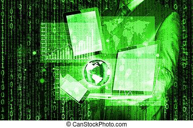 tecnologia, in, il, mani, di, uomini affari
