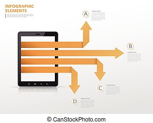tecnologia, infographic, disegno, sagoma