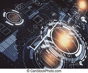 tecnologia, inovação, e, analytics, conceito