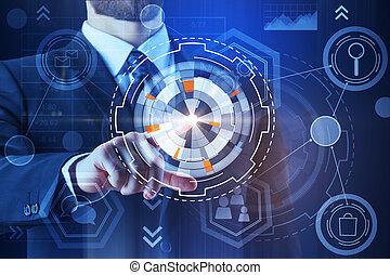 tecnologia, inovação, e, hud, conceito