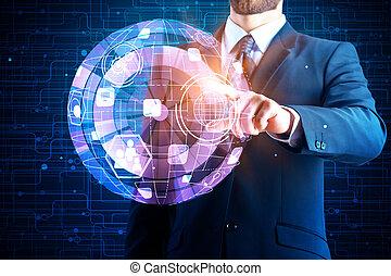 tecnologia, inovação, e, interface, conceito