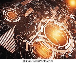tecnologia, inovação, e, rede, conceito