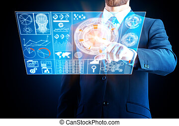 tecnologia, inovação, e, touchscreen, conceito