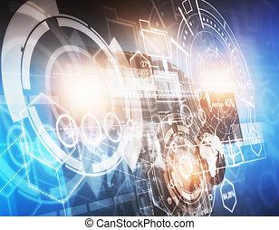 tecnologia, inovação, futuro, e, interface, conceito