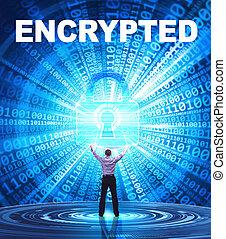 tecnologia, internet, affari, e, rete, concept., giovane, uomo affari, fornisce, cyber, security:, encrypted