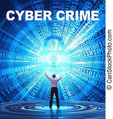 tecnologia, internet, affari, e, rete, concept., giovane, uomo affari, fornisce, cyber, security:, cyber, crimine