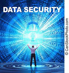 tecnologia, internet, affari, e, rete, concept., giovane, uomo affari, fornisce, cyber, security:, integrità dei dati