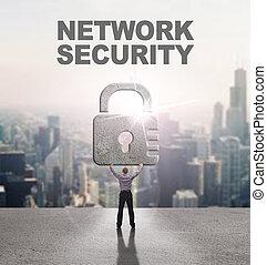tecnologia, internet, affari, e, rete, concept., giovane, uomo affari, fornisce, cyber, security:, sicurezza rete