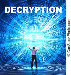 tecnologia, internet, affari, e, rete, concept., giovane, uomo affari, fornisce, cyber, security:, decryption
