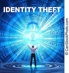 tecnologia, internet, affari, e, rete, concept., giovane, uomo affari, fornisce, cyber, security:, furto identità