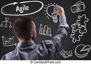 tecnologia, internet, negócio, e, marketing., jovem, homem negócio, escrita, word:, ágil