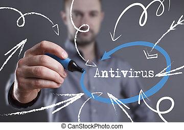 tecnologia, internet, negócio, e, marketing., jovem, homem negócio, escrita, word:, antivirus