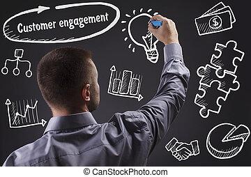 tecnologia, internet, negócio, e, marketing., jovem, homem negócio, escrita, word:, cliente, obrigação