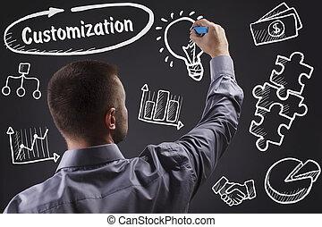 tecnologia, internet, negócio, e, marketing., jovem, homem negócio, escrita, word:, customization