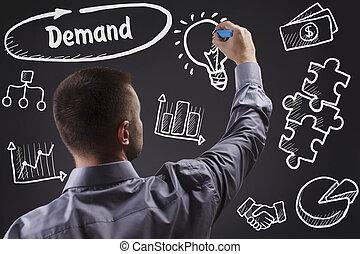 tecnologia, internet, negócio, e, marketing., jovem, homem negócio, escrita, word:, demanda