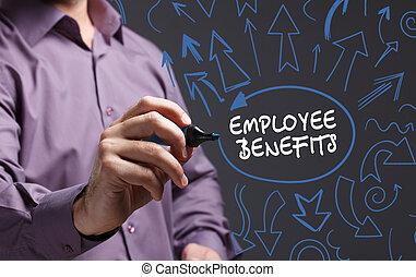 tecnologia, internet, negócio, e, marketing., jovem, homem negócio, escrita, word:, empregado, benefícios