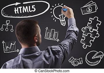 tecnologia, internet, negócio, e, marketing., jovem, homem negócio, escrita, word:, html5