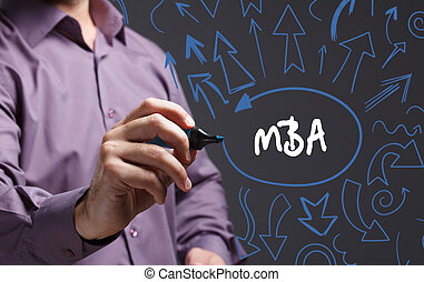 tecnologia, internet, negócio, e, marketing., jovem, homem negócio, escrita, word:, mba