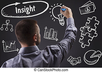 tecnologia, internet, negócio, e, marketing., jovem, homem negócio, escrita, word:, perspicácia