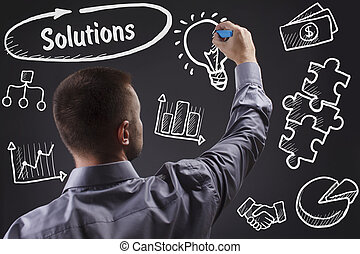 tecnologia, internet, negócio, e, marketing., jovem, homem negócio, escrita, word:, soluções