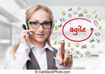 tecnologia, internet, negócio, e, marketing., jovem, mulher negócio, escrita, word:, ágil