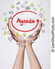 tecnologia, internet, negócio, e, marketing., jovem, mulher negócio, escrita, word:, agenda