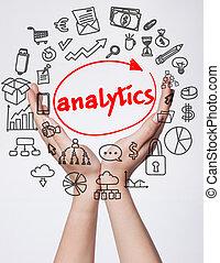 tecnologia, internet, negócio, e, marketing., jovem, mulher negócio, escrita, word:, analytics